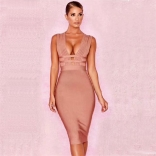 Khaki Sleeveless V-Neck Bandage Party Celebrities Midi Dress
