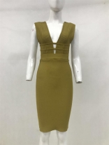 Green Sleeveless V-Neck Bandage Party Celebrities Midi Dress