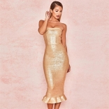 Golden Off-Shoulder Bandage Girding Sexy Midi Dress