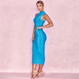 Blue Sleeveless Bandage Bodycons Midi Dress