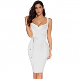 White Halter V-Neck Bandage Sexy Cocktail Party Dress