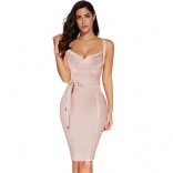 Beige Halter V-Neck Bandage Sexy Cocktail Party Dress