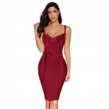WineRed Halter V-Neck Bandage Sexy Cocktail Party Dress