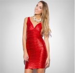 Red Sleeveless Women Bandage Gilding Mini Dress