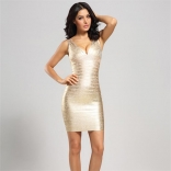 Golden Sleeveless Women Bandage Gilding Mini Dress