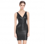 Black Sleeveless Women Bandage Gilding Mini Dress