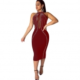 Red Sleeveless Mesh Deep V-Neck Rainstones Bodycons Midi Dress
