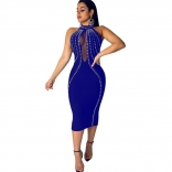 Blue Sleeveless Mesh Deep V-Neck Rainstones Bodycons Midi Dress