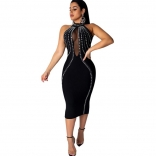 Black Sleeveless Mesh Deep V-Neck Rainstones Bodycons Midi Dress