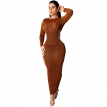 Golden Long Sleeve Mesh Silk Backless Sexy Midi Dress