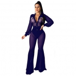 Blue Long Sleeve Mesh V-Neck Rainstones Sexy Jumpsuit