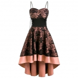 Black Halter Low-cut V-Neck Lace Women Sexy Skirt Dress
