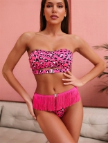 RoseRed Prined Women Sexy Tassels Swimsuit
