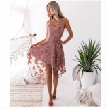 Pink Halter Sexy Lace Skirt Dress