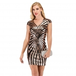 Golden V-Neck Sequins Striped Bodycons Sexy Mini Dress
