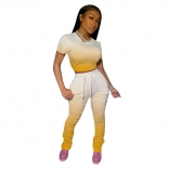 Yellow Short Sleeve Printed Sexy Bandage Jumpsuit Sets
