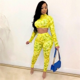 Yellow Long Sleeve Printed O-Neck 2PCS Bodycon Jumpsuit