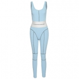 Blue Halter Low-Cut Bodycons Sexy Jumpsuit Sport Dress