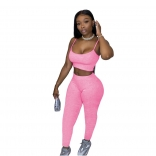 Pink Halter V-Neck Bodycons 2PCS Sexy Jumpsuit