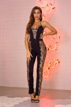 Black Halter Sleeveless Sequins Mesh Sexy Jumpsuit