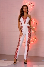 White Halter Sleeveless Sequins Mesh Sexy Jumpsuit