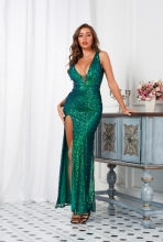 Green Halter Deep V-Neck Sequins Women Sexy Evening Dress