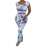 Blue Low-Cut 2PCS Printed Women Bodycon Jumpsuit