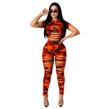 Red Short Sleeve Printed Bandage Sexy Jumpsuit