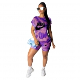 Purple Short Sleeve Printed O-Neck 2PCS Club Dress