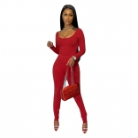 Red Long Sleeve Low-Cut 2PCS Women Bodycons Dress