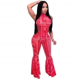 Red Sleeveless Printed Women 2PCS Sexy Jumpsuit