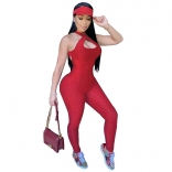 Red Sleeveless Halter Bandage Bodycons Sexy Jumpsuit