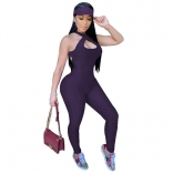 Purple Sleeveless Halter Bandage Bodycons Sexy Jumpsuit