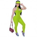 Shiny Green Sleeveless Halter Bandage Bodycons Sexy Jumpsuit