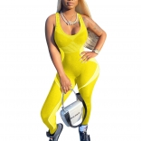Yellow Sleeveless V-Neck Printed Sports Jumpsuit Dress