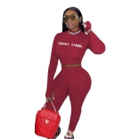 Red Long Sleeve Zipper Printed Sexy Sport Jumpsuit