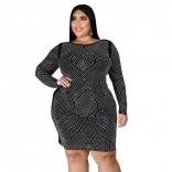 Black Long Sleeve Plus Size Rainstones Mini Dress