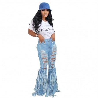 White Short Sleeve Printed T-Skirt LightBlue Jeans Hollow-out Trousers
