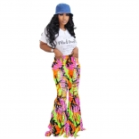 White Short Sleeve Printed T-Skirt Pink Jeans Hollow-out Trousers