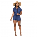 Blue Short Sleeve V-Neck Jeans Women Rompers