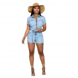 LightBlue Short Sleeve V-Neck Jeans Women Rompers