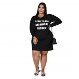 Black Long Sleeve Printed Women Plus Size Mini Dress