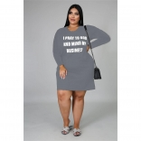 Grey Long Sleeve Printed Women Plus Size Mini Dress