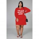 Red Long Sleeve Printed Women Plus Size Mini Dress