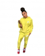 Yellow Long Sleeve Printed Women 2PCS Sports Dress