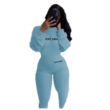 Blue Long Sleeve Bodycons Sexy Women Jumpsuit