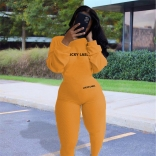 Orange Long Sleeve Bodycons Sexy Women Jumpsuit