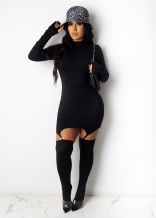 Black Long Sleeve Bodycons Zipper Sexy Mini Dress With Stockings