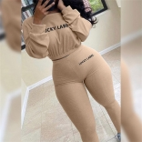 Khaki Long Sleeve O-Neck Knitting Women Bodycons Jumpsuit