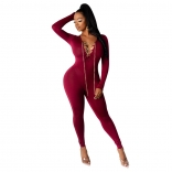 Red Long Sleeve V-Neck Metal Chains Sexy Jumpsuit